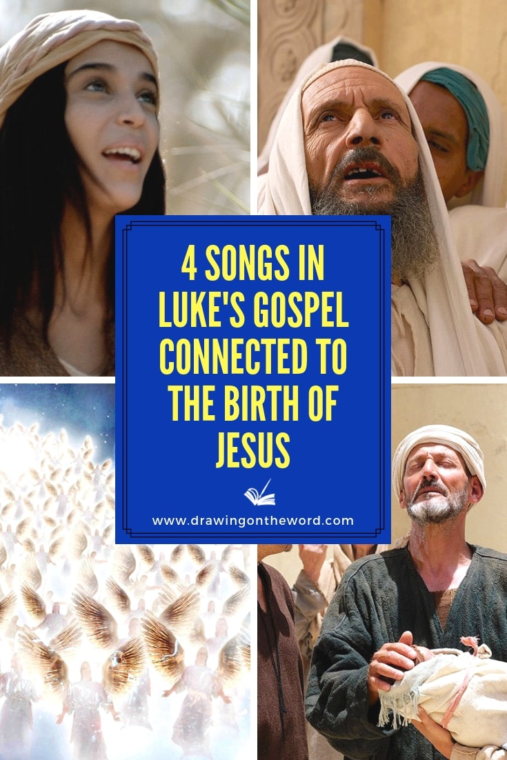 There are 4 Songs in Luke's Gospel connected to the birth of Jesus. How do each of these tell of God's saving work and hope that Jesus brings at Christmas? #lukesgospel #magnificat #babyjesus #jesus #mary #zechariah #angels #simeon #christmas #birthofjesus #advent