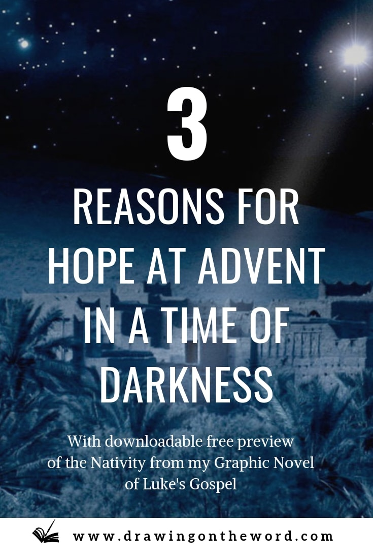 Three reasons for hope at Advent. Advent is a time of expectation. However, for many,  Christmas is a difficult time. How can we find hope in our darkness? #advent #christmas #nativity #hope #jesus #lightoftheworld #Immanuel #birthofjesus #babyjesus #christmastime #adventhope