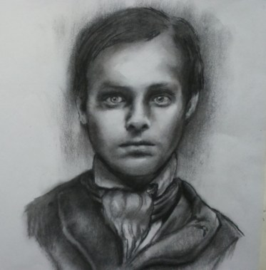 Victorian boy - charcoal
