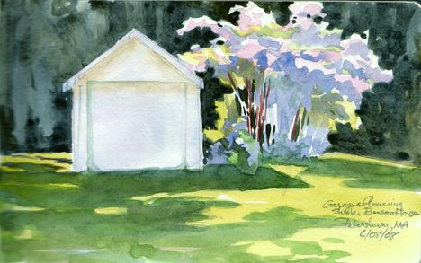 Benson House Garage with giant flowering bush