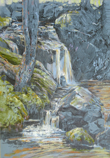 "Doyle's Cascade, plein air pastel/graphite, 12""x16"""