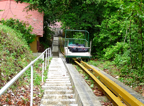 BCI's antique cablecar pulls heavy stuff up a San Francisco-worthy hillside leading from the boat dock.