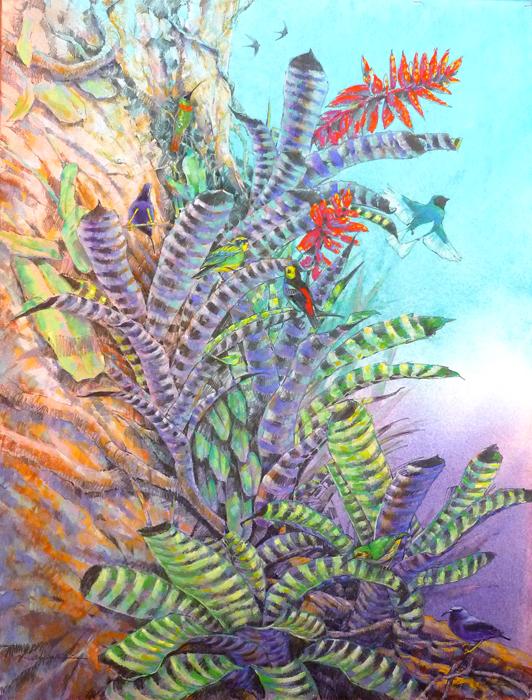 "Canopy Life- mixed media on Rives BFK paper, 30""x39""."
