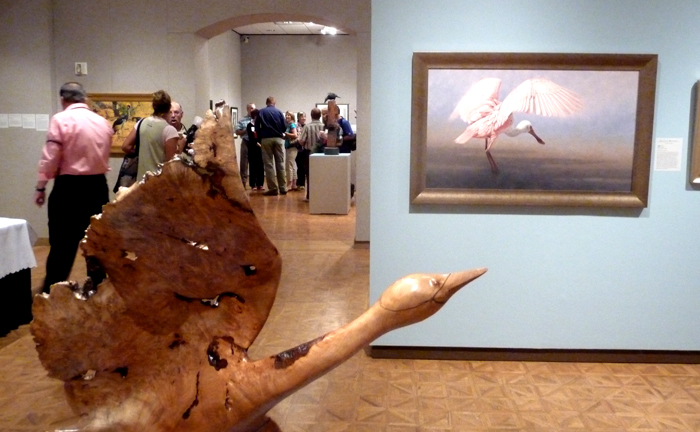 "Birds in Art Exhibit at the Leigh Yawkey Woodson Museum. Sculpture in foreground: ""Tundra Swan"", Gene Reineking; ""Alight, Roseate spoonbill"", Krystaii Melaine"