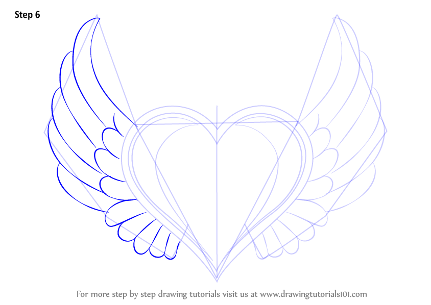 Learn How To Draw Heart With Wings (Love) Step By Step
