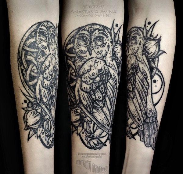 Тату Яна Мигами - фото татуировки в стиле Блэкворк, Сов ...