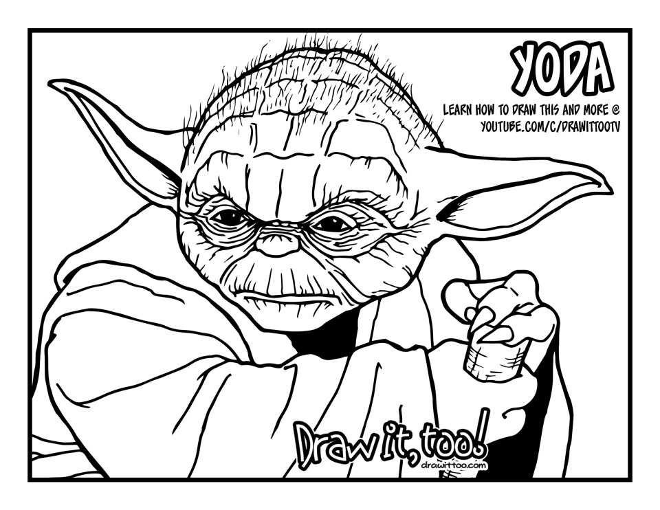 yoda coloring page - master yoda star wars draw it too