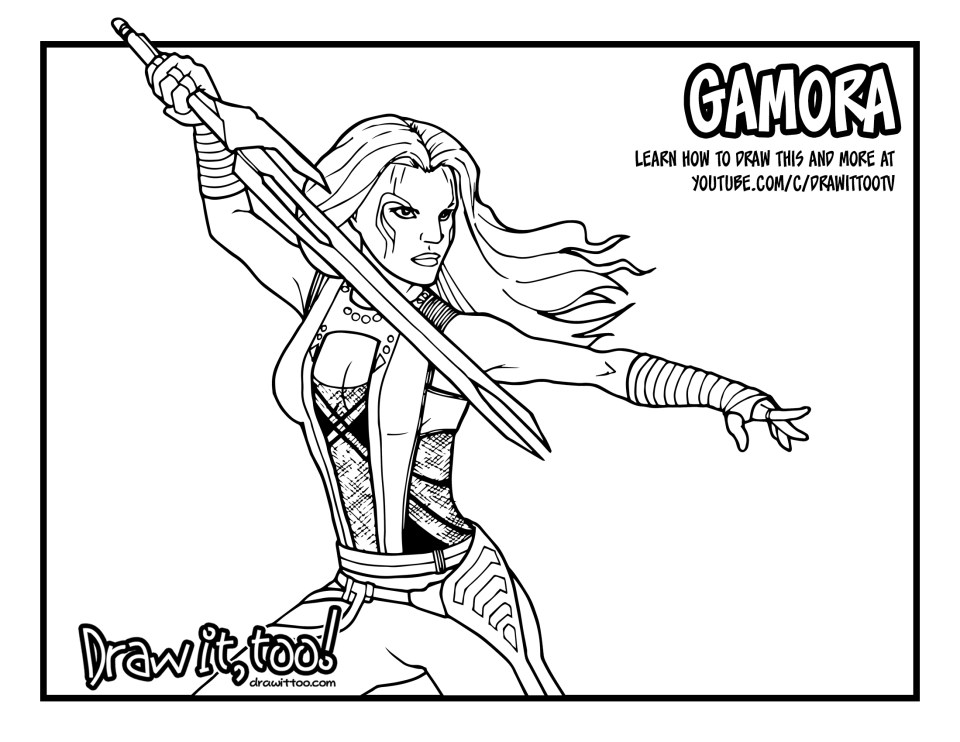 Gamora Guardians Of The Galaxy Drawing Tutorial Draw It Too