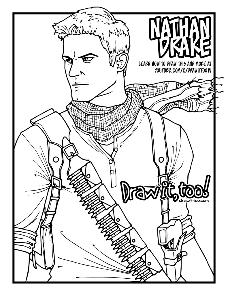 How to draw nathan drake uncharted drawing tutorial for Drake coloring pages