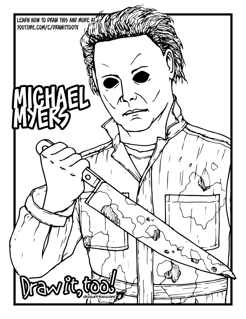 michael myers coloring pages how to draw michael myers halloween drawing tutorial