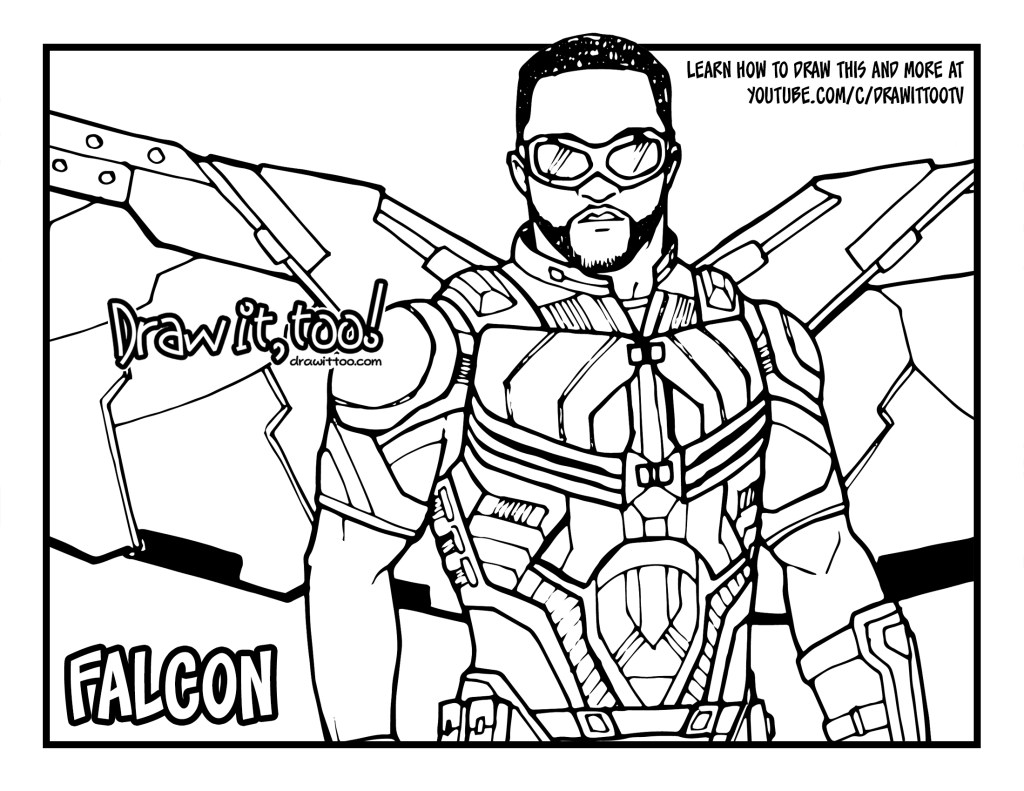 How to draw falcon avengers infinity war drawing for Infinity coloring pages