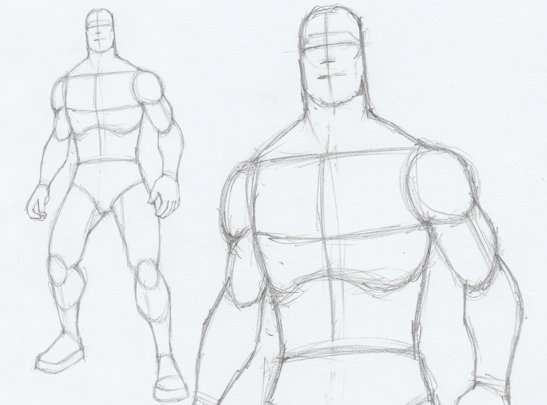 How to draw a male standing pose version 2