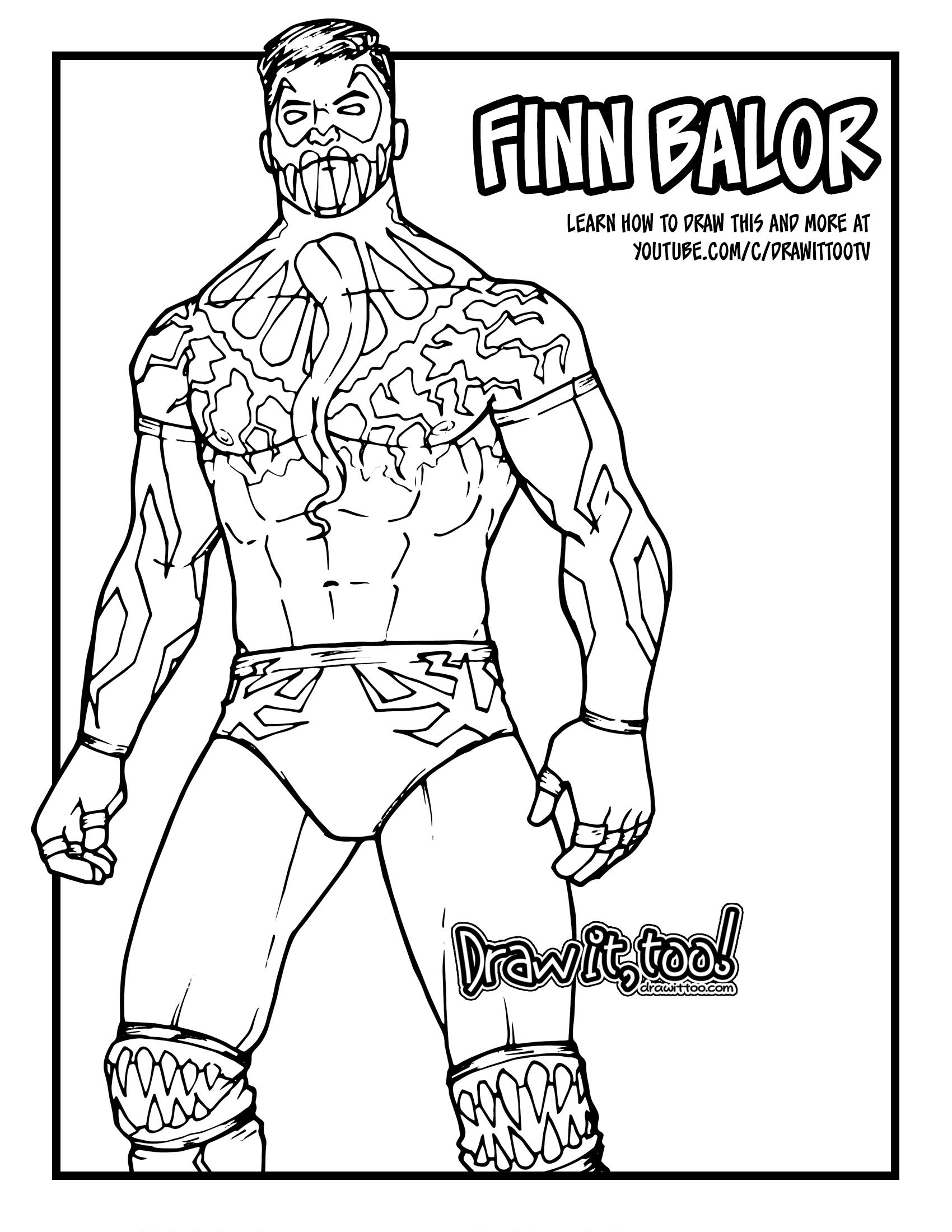 How To Draw Finn Balor Wwe Drawing Tutorial It Too Jpg 1140x1475 Blaor Coloring