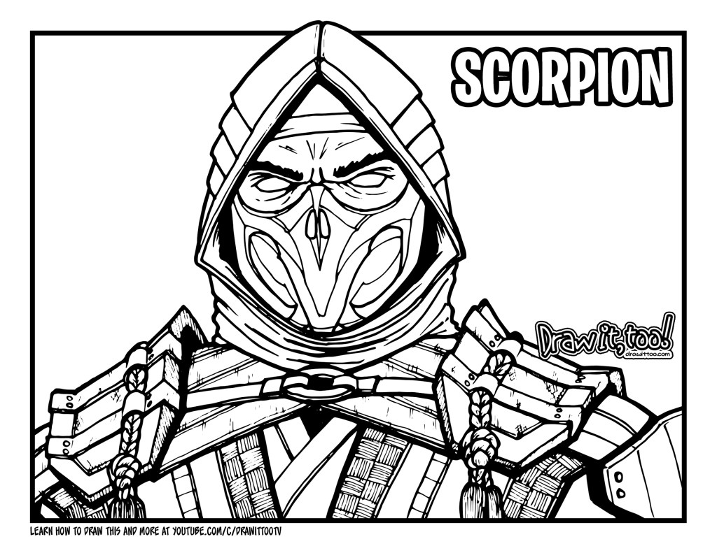 How to Draw SCORPION (Mortal Kombat 11) Drawing Tutorial ...