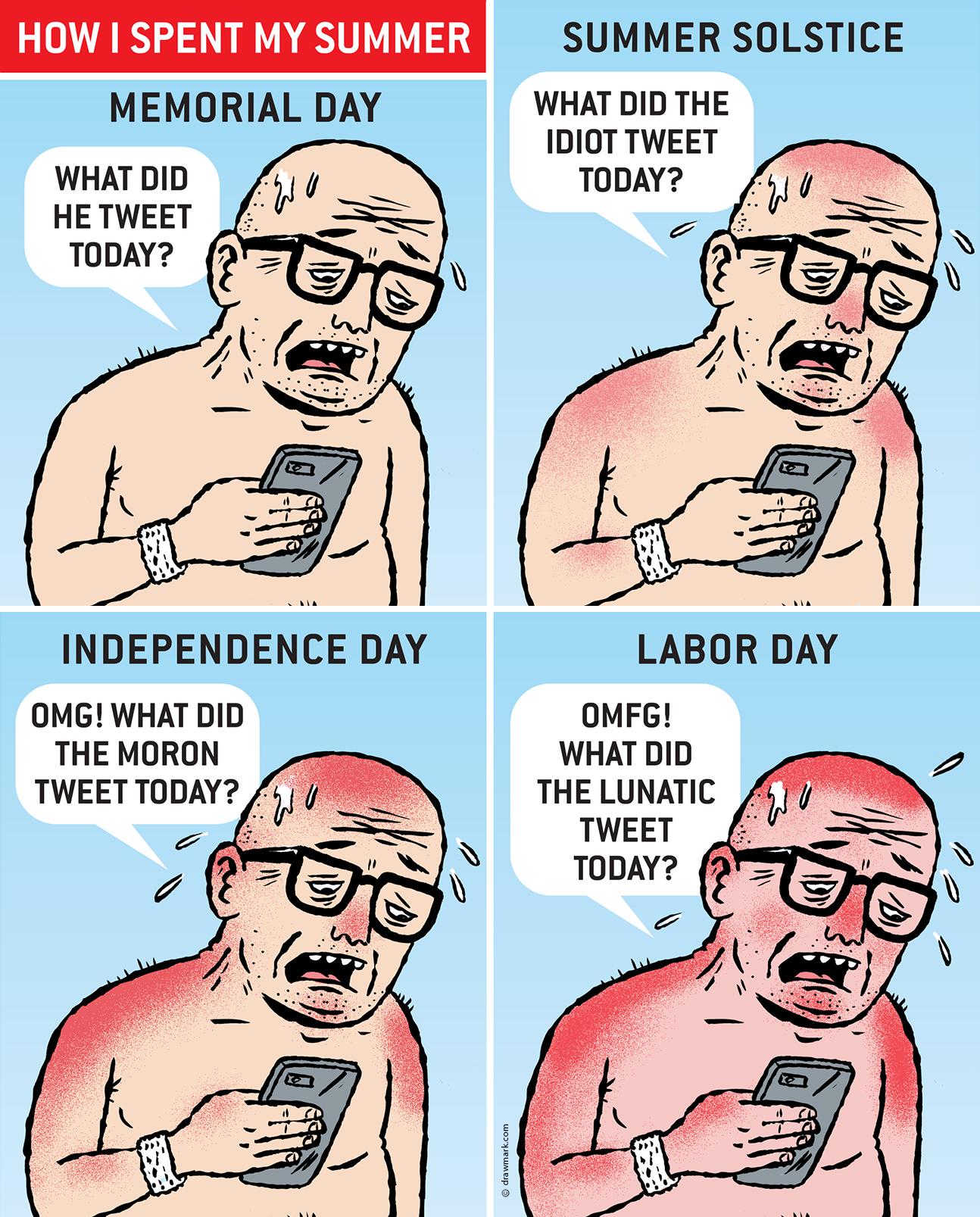 How I spent My Summer. American Affairs Desk Comic by Mark Kaufman