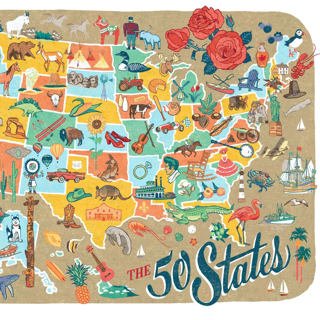 50 States Map Print Drawn The Road Again