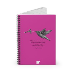 'Hummingbird' Spiral Notebook – Ruled (pink)