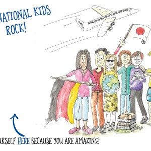 'International Kids Rock!' – 4 x 6″ blank greeting card