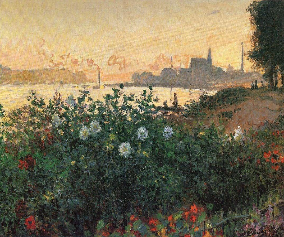 Claude Monet, Flowered Riverbank, Argenteuil, 1877