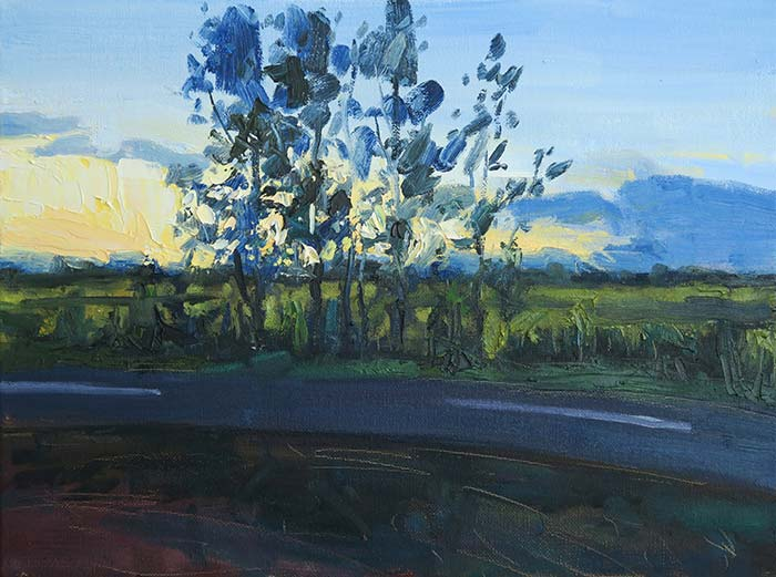 Nundah Running Track At Sunset, Oil On Canvas, 12x16 Inches