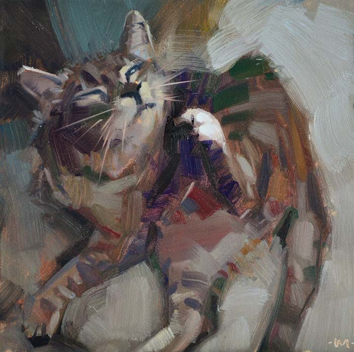 Carol Marine, French Kitty, 6x6 Inches