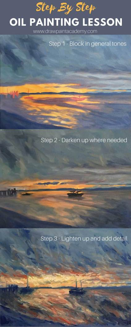 Oil Painting Tutorial Sunset At Kingfisher Bay Fraser Island