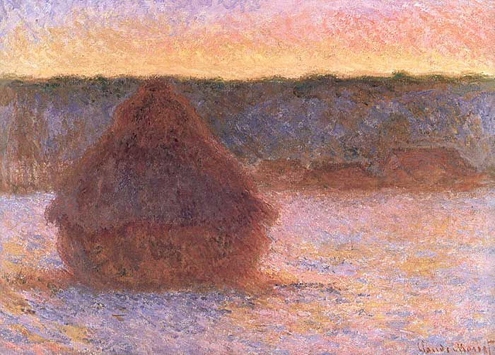 Claude Monet, Haystacks At Sunset, Frosty Weather, 1891