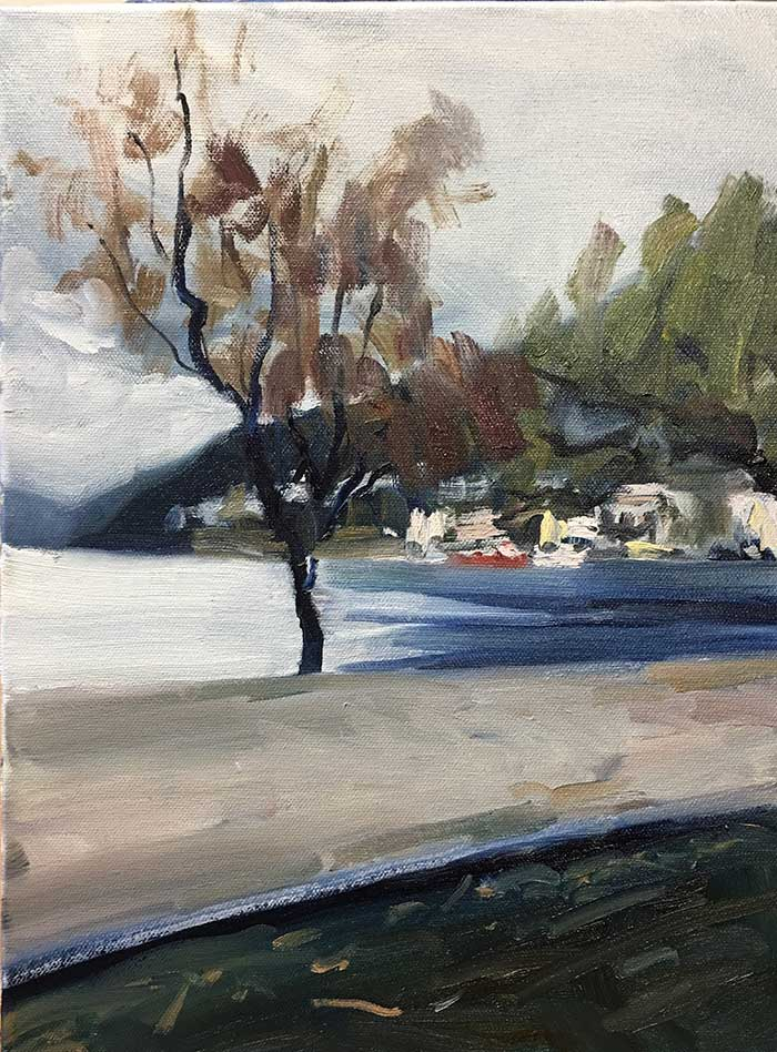 Fresh off the easel - overcast day in Queenstown.