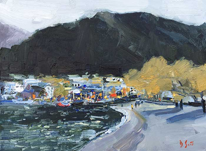 7. Queenstown From The Shore, Oil, 12x16 Inches, 2017