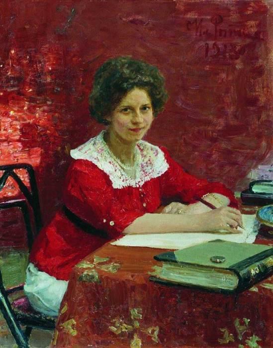 Ilya Repin, Portrait Of K.B. Boleslavova, 1913