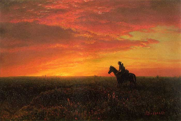 Albert Bierstadt, On The Plains, Sunset. A step by step tutorial on how to paint a beautiful sunset in oils or acrylics.