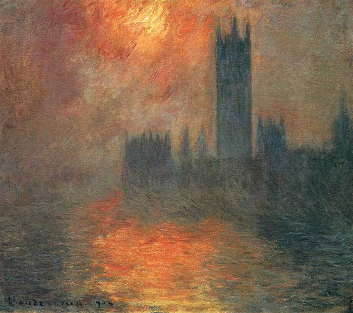Claude Monet, Houses Of Parliament, Sunset, 1904. A step by step tutorial on how to paint a beautiful sunset in oils or acrylics.