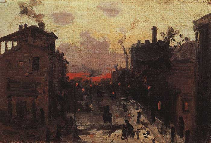 Konstantin Korovin, Sunset At The Outskirt Of The Town, 1900. A step by step tutorial on how to paint a beautiful sunset in oils or acrylics.
