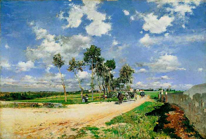 Landscape Painting Inspiration | Giovanni Boldini, The Great Road In The Villas Combes, 1873