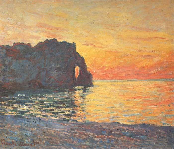 Claude Monet, Etretat, Cliff Of d'Aval, Sunset, 1885
