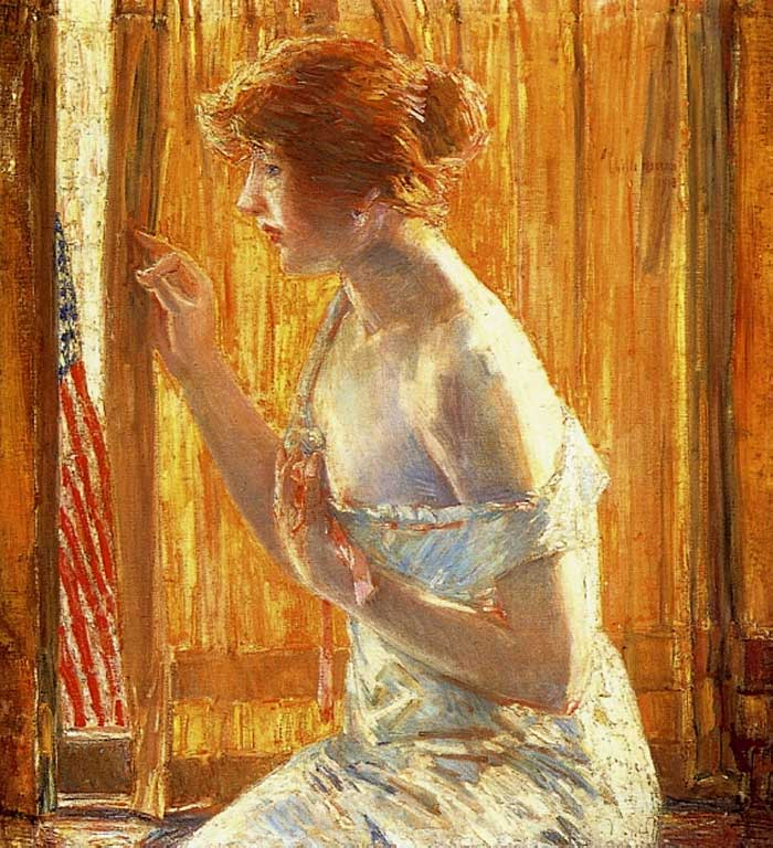 Childe Hassam, The Flag Outside Her Window, April (Aka Boys Marching By), 1918