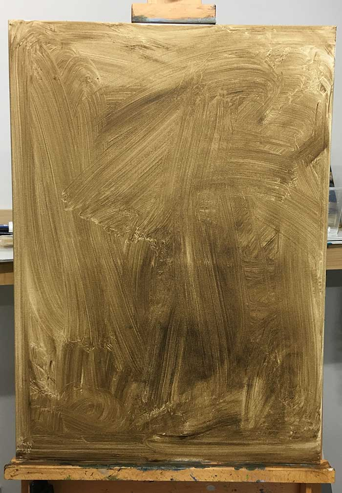 How to start an oil painting - part 1 stain the canvas