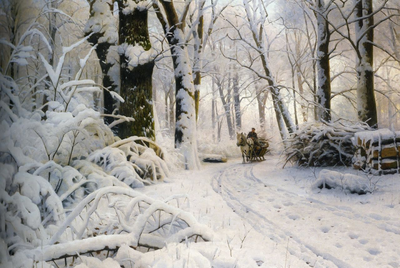 Peter Mork Monsted, Woods In The Snow | Landscape Painting