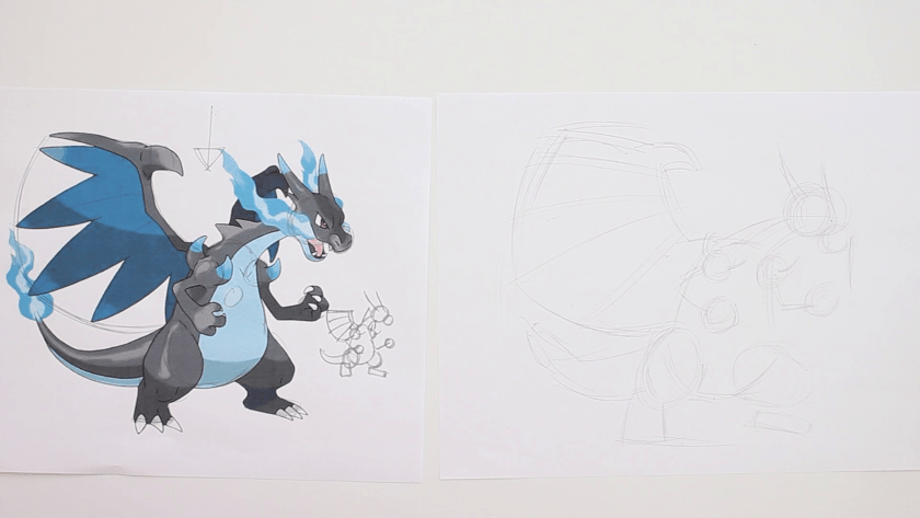 How to Draw Mega Charizard X - Step 1 - Basic Shape and Stick Figuring