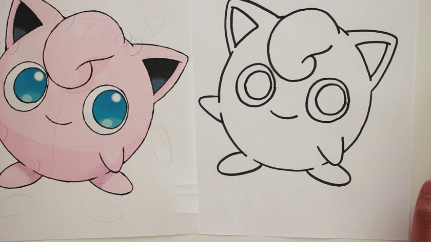 How to Draw Jigglypuff - Step 2 - Trace Pencil Lines with Marker