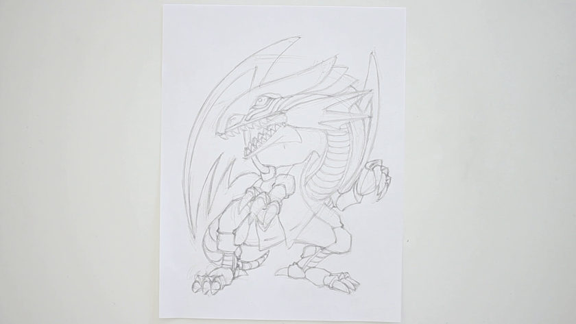 How to Draw Blue Eyes White Dragon - Step 2 - Refined Pencil Drawing