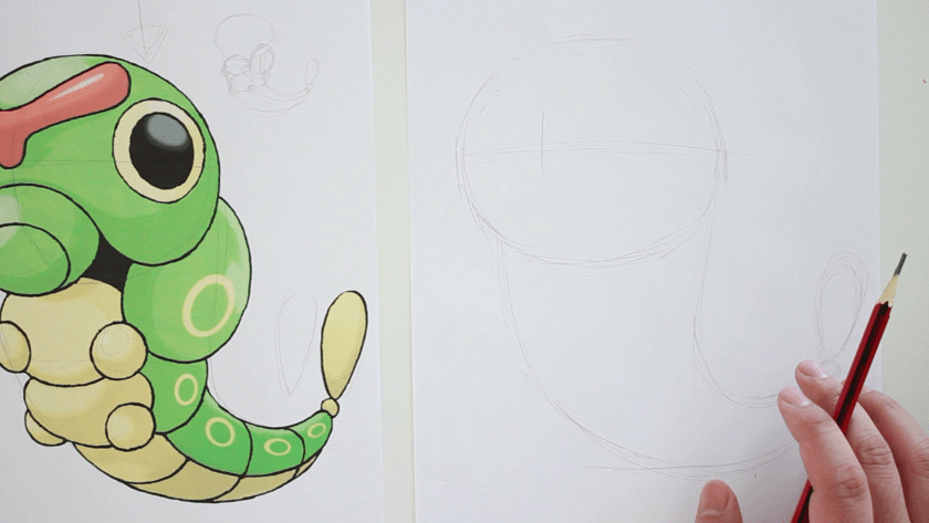 How to Draw Caterpie - Step 1 - Basic Shape and Form