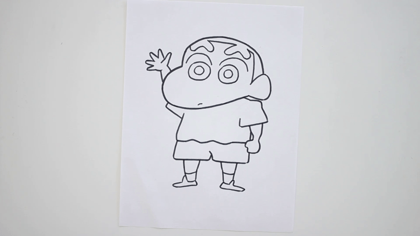 How to Draw Shinnosuke Nohara - Step 3 - Trace Pencil Lines with marker