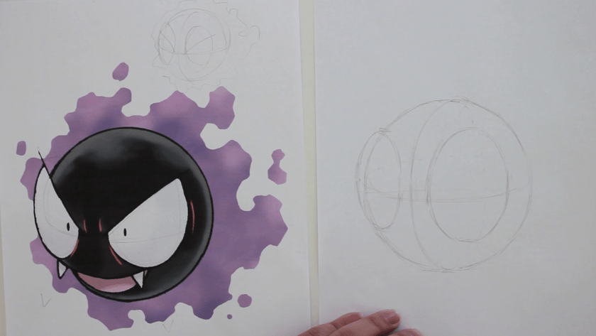 How to Draw Gastly - Step 1 - Basic Shape and Form