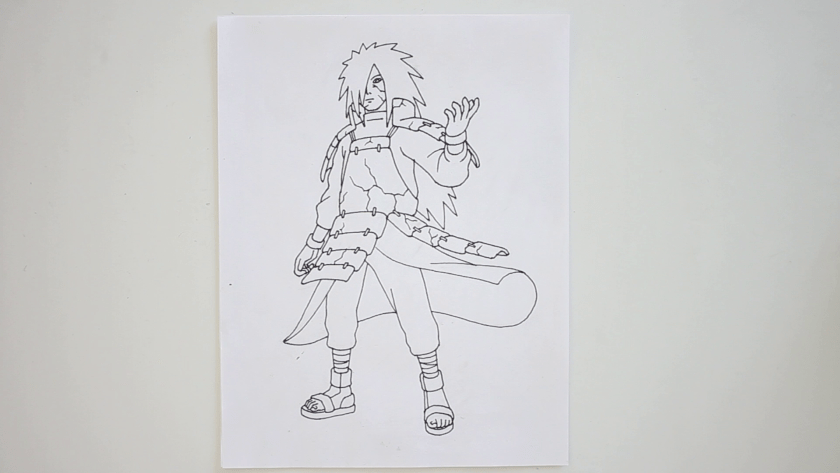 How to Draw Madara Uchiha - Step 5 - Trace Pencil Lines with Marker