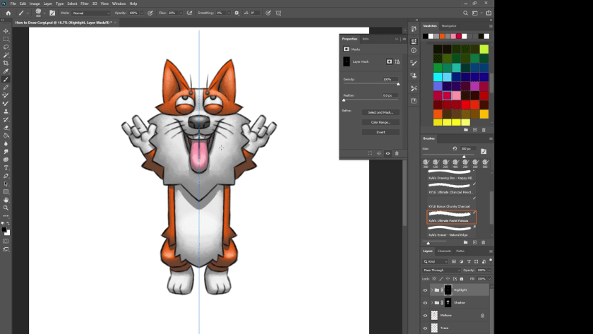 How to Draw Pembroke Welsh Corgi - Step 9 - Refine Highlight