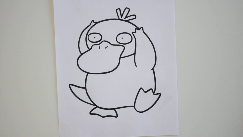How to Draw Psyduck - Step 3 - Trace Pencil Lines with Marker
