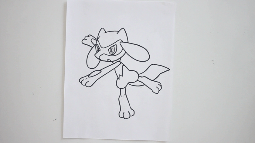 How to Draw Riolu - Step 3 - Trace Pencil Lines with Marker