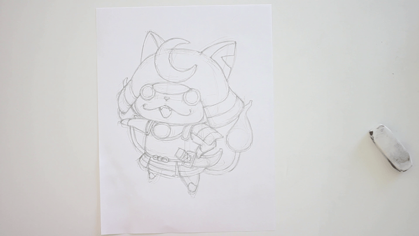 How to Draw Shogunyan - Step 3 - Refined Pencil Drawing