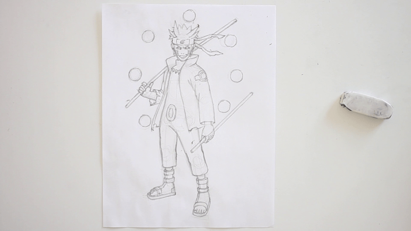 How to Draw Six Paths Sage Mode Naruto - Step 4 - Refined Pencil Drawing